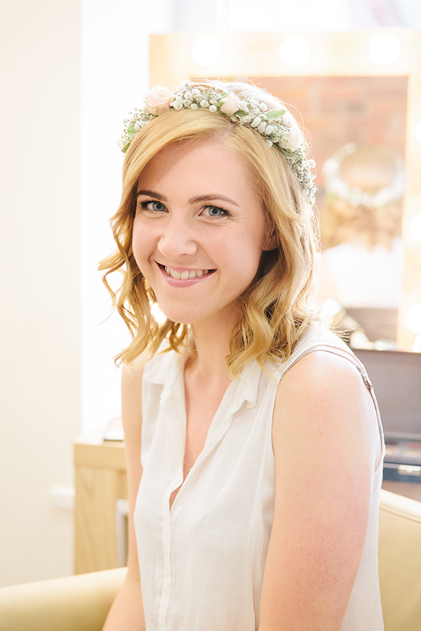 bride makeup flower crown